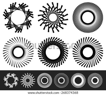 Set of 6 Abstract Circular, Rotating Elements - stock vector