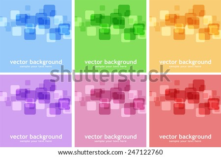 Set of abstract color backgrounds with square - stock vector