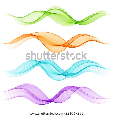Set of abstract color wave - stock vector