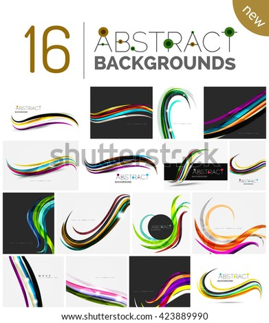 Set of abstract color waves, unusual various designs - transparent curves, smooth lines, smoke wave templates, blue red green colors. Universal modern background templates and banner layouts - stock vector