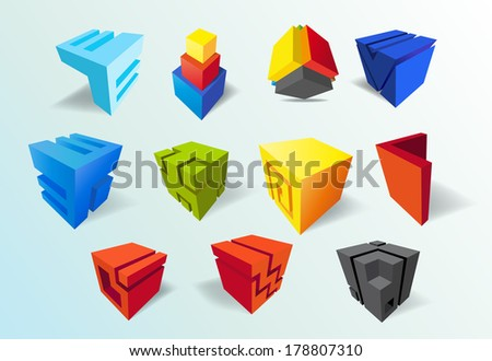 set of   abstract colored cubes  for design - stock vector