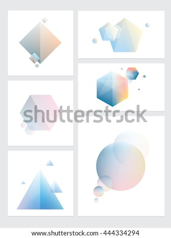 Set of abstract colorful futuristic geometric element designs in polygonal, cubic, triangular and circular shapes.  - stock vector