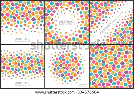 Set of abstract colorful geometric patterns. Global colors - easy to change. - stock vector