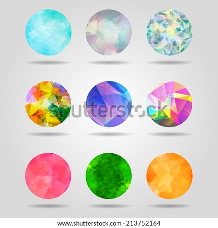 set of abstract colorful geometric spherical shapes from triangular faces for graphic design - stock vector