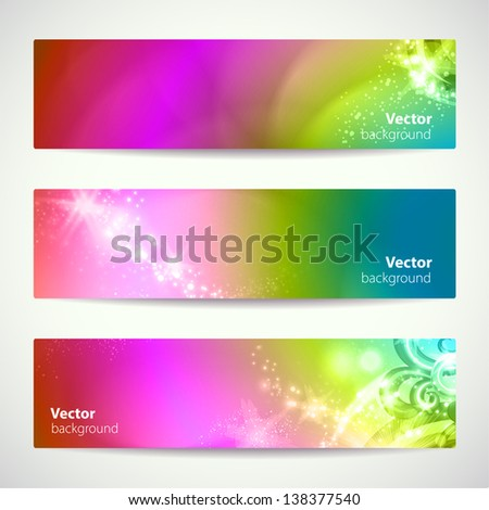 Set of abstract colorful vector banners. - stock vector