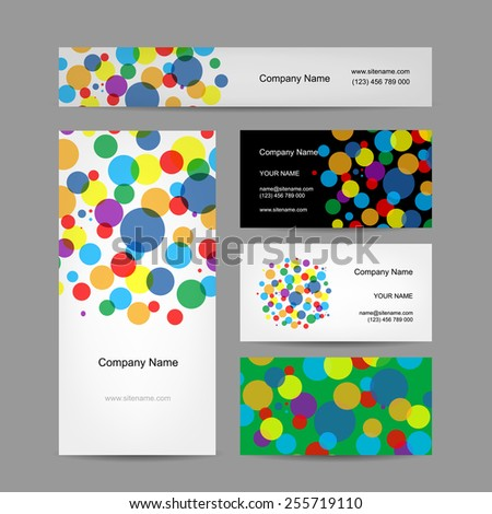 Set of abstract creative business cards design, vector illustration - stock vector