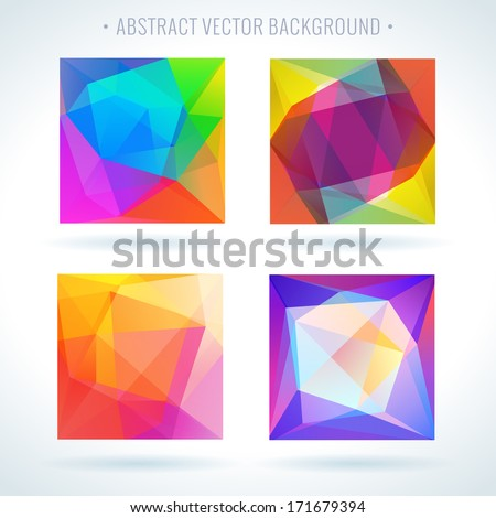 Set of abstract 3D geometric colorful triangle vector background - stock vector