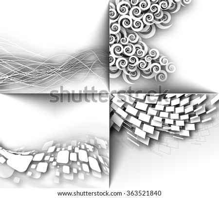 Set of Abstract 3D Geometrical Mosaic Design, eps10 vector - stock vector