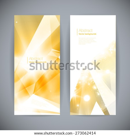 Set of abstract 3D gold background with geometric design elements, flashes and lights.