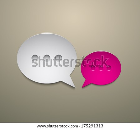 Set of abstract 3d metallic speech bubbles with shiny light. Modern and glossy style