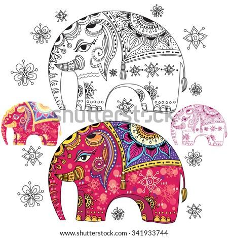 Set of abstract decorative elephants - stock vector