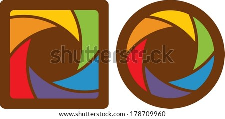 set of abstract design opened shutter apertures.  - stock vector