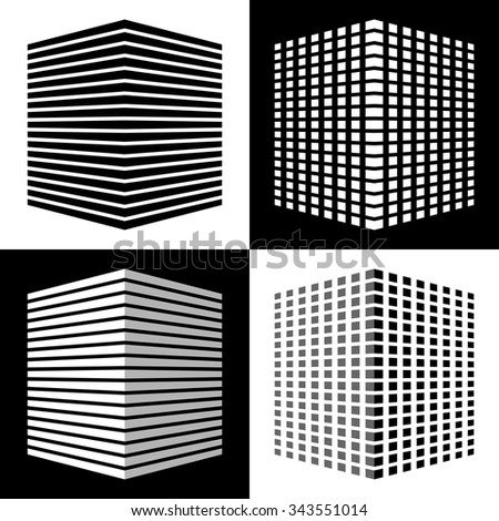 Set of abstract different design of cube shape icon. 3d striped and square texture block, black and white color, simple style. vector art image illustration, isolated on background eps10 - stock vector