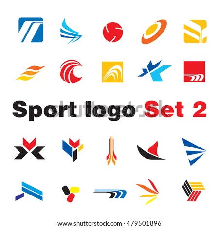 set abstract elements sport logo design stock vector royalty free