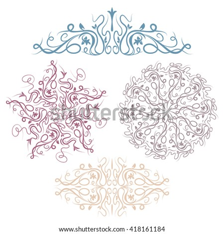 Set of abstract floral vignettes, isolated on white background - stock vector