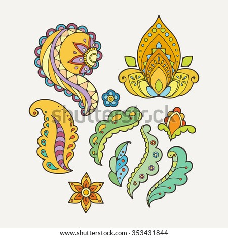 Set of abstract flowers and paisley elements in Indian mehendi style. Template for mehndi ornaments. - stock vector