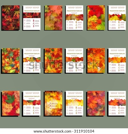 Set of 18 Abstract Flyer Geometric Triangular Colorful Modern Backgrounds - EPS10 Brochure Design Templates, Flyer Template In Vivid Autumn Colors. Clean and Modern Concept , A4 format - stock vector