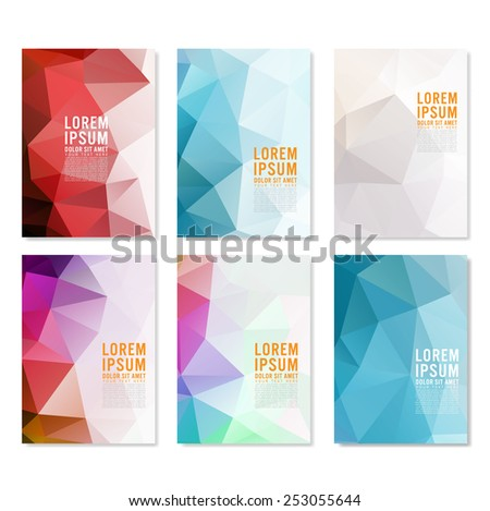 Set Abstract Flyer Geometric Triangular Abstract Stock Vector