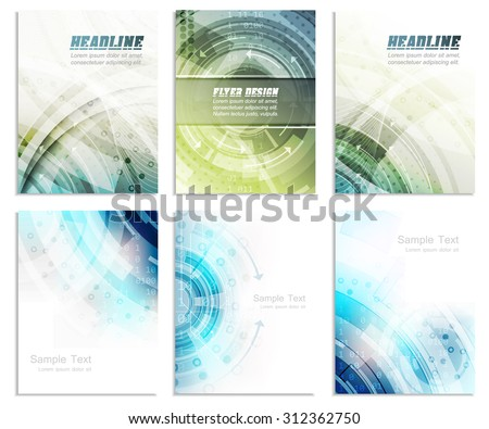 Set of abstract flyer template, magazine, brochure, cover design or corporate banner/editable vector design with space for your content - stock vector