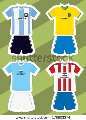 set of abstract football jerseys, argentina, brazil, uruguay and paraguay  - stock vector