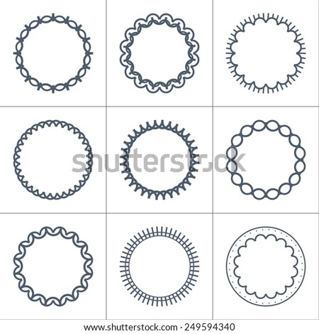 Set of abstract frames, labels, logo templates in line style. Graphic design elements. Vector illustration - stock vector