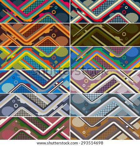 set of abstract futuristic pattern background for modern skateboard. vector illustration eps10 - stock vector