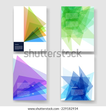 Set of abstract geometric background. Vector illustration for flyers, posters, banners.