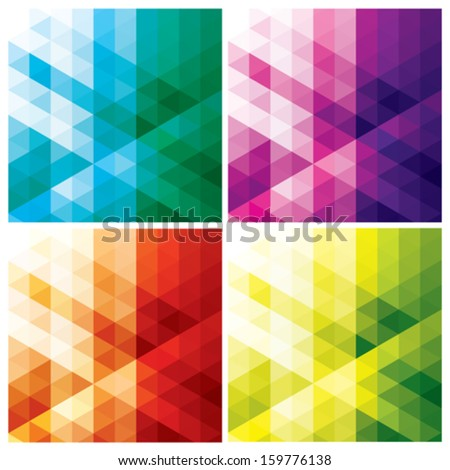 set of abstract geometric backgrounds with triangles and hexagons, vector illustration - stock vector