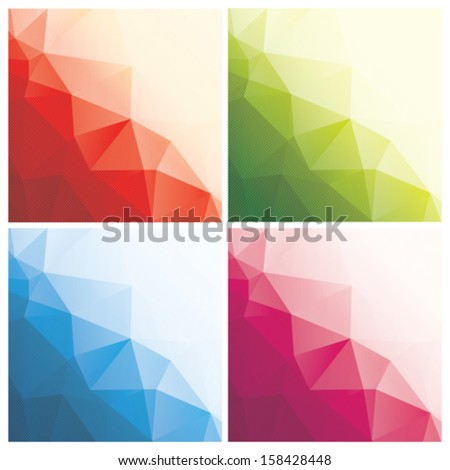 set of abstract geometric backgrounds with triangles and stripes, vector illustration - stock vector