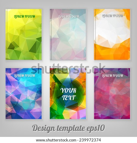 set of Abstract geometric colorful cover designs from triangular faces