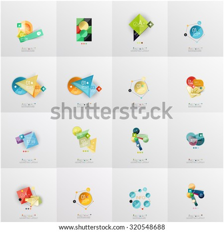 Set of abstract geometric infographic banner templates. Business presentations, backgrounds, option infographics or advertising layouts - stock vector
