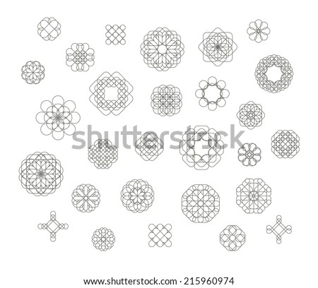 Set of abstract geometric page decoration elements based on floral motifs. Vector image. - stock vector