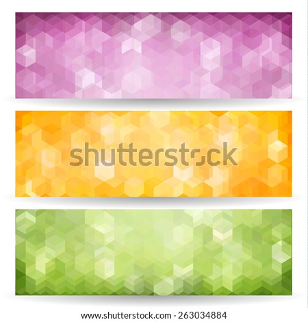 Set of abstract geometric polygonal banners - eps10 vector - stock vector