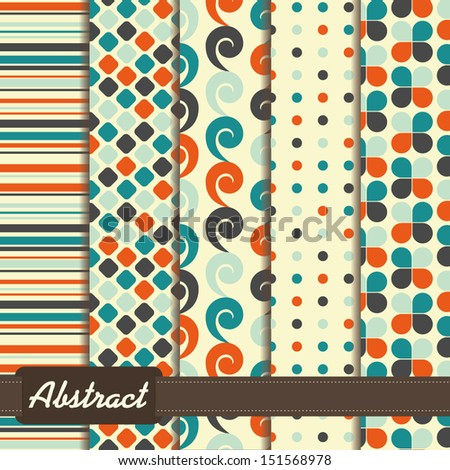 set of abstract geometric seamless patterns white blue orange - stock vector