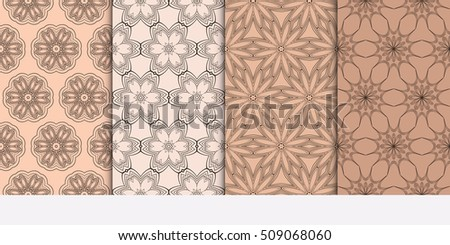 Set of abstract geometry flower seamless pattern. Brown color, Vector illustration. For design clothes, greeting card, scrapbook, wallpaper fills