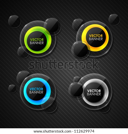 set of abstract glass labels - stock vector