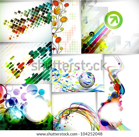 set of abstract glowing lines of light with rainbow colors background. - stock vector