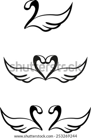 Set of abstract graphic swans - stock vector