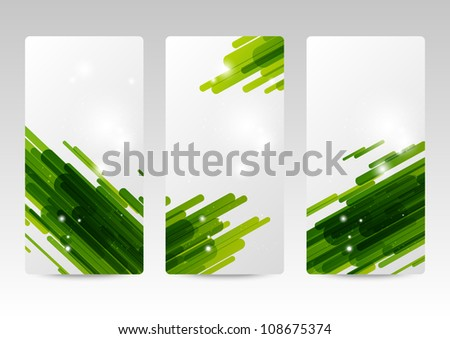 Set of abstract green banners - stock vector