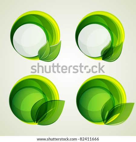 set of abstract green banners with leaf. Vector elements for design. - stock vector