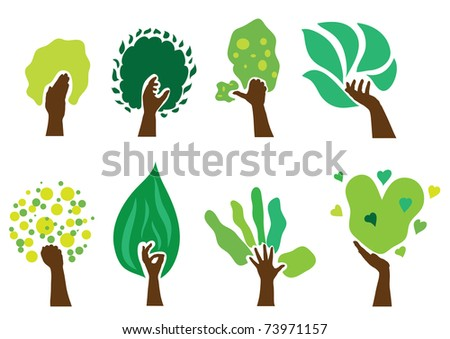 set of 8 abstract green hand trees, nature symbols - stock vector
