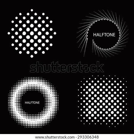 Set of Abstract Halftone Backgrounds. Vector illustration - stock vector