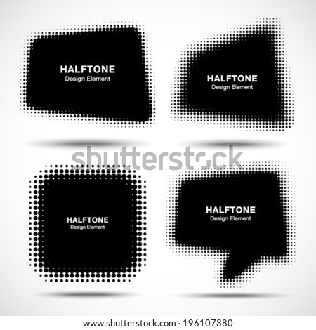 Set of Abstract Halftone Design Elements, vector illustration  - stock vector