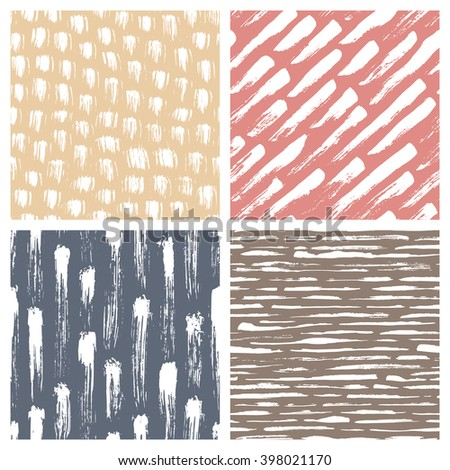 Set of abstract hand drawn seamless patterns, brush strokes textures