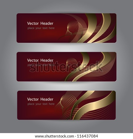 Set of abstract header design, banners - stock vector