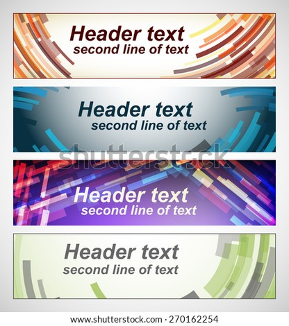 Set of abstract horizontal banners. Four colored vector background for text. Multicolored lines. For print or web design. - stock vector