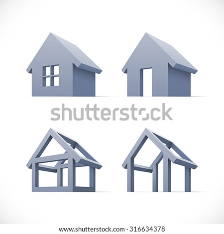 Set of abstract houses icons. Easy to change colors. - stock vector