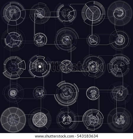 Set of abstract hud elements isolated on black background. High tech motion design, round interfaces, connecting systems. Science and technology concept. Futuristic vector
