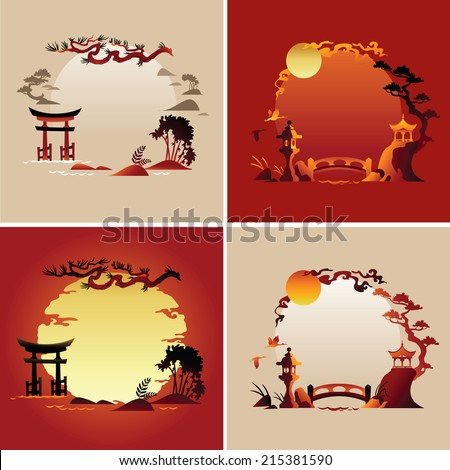 Set of Abstract japanese background - Vector illustrations - stock vector
