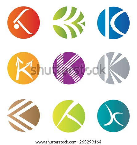 Set of 9 Abstract K Letter Icons - Decorative Elements - stock vector